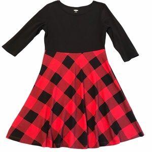 OLD NAVY Dress Girls Red Black Buffalo Check Plaid